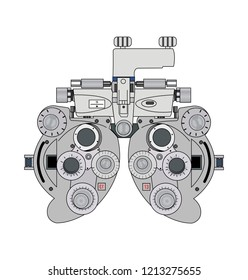 Bifocal optometry measurement device, isolated on white