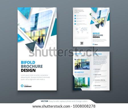 bifold brochure design blue template bi stock vector royalty free
