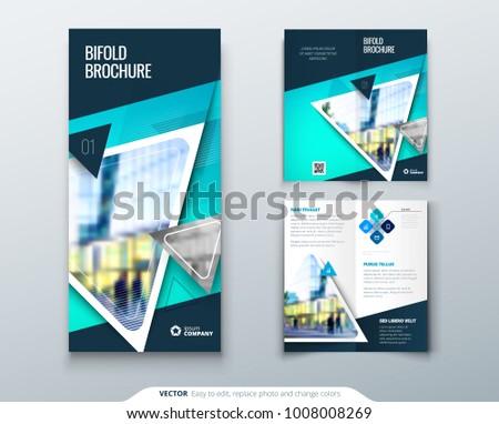 bifold brochure design teal template bi stock vector royalty free