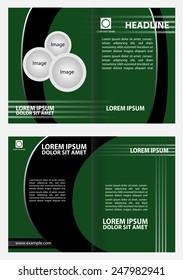 Bi-fold brochure template design with green color