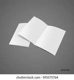 Bifold white template paper. Vector illustration.