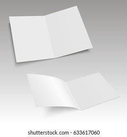Bifold white template paper. Vector illustration