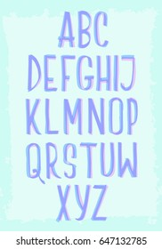 Bifurcated marker hand drawn vector alphabet on blue grunge background. Two color letters with multiply effect.