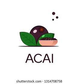 Big acai berry.Plate with acai berries on a white isolated background. Composition. Vector illustration.