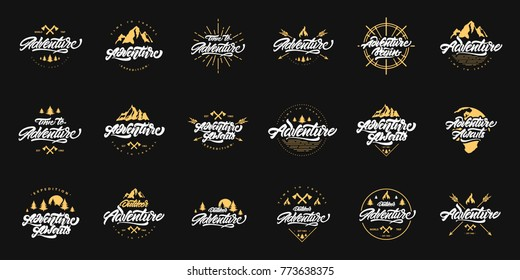 Big Adventure lettering set logos with gold illustrations. Vintage logos with mountains, bonfires and arrows. Adventure logo design. Vector logos for your design.