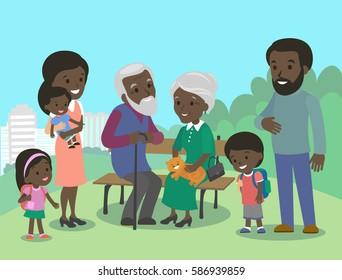 Big African family characters with mother father grandmother grandfather kids baby child set. Vector. Familiar meeting in the park. Brown skin