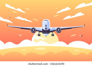 Big airplane taking off with passengers vector illustration. Aircraft landing with clouds in the sky at sunset along golden ocean flat style design. Plane concept