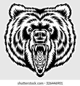 Big Angry Bear Head Print