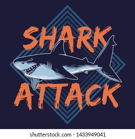 Big angry hungry dangerous abstract shark attack animals predator fish in deep ocean sea California Hawaii vintage style fashion trendy illustration print t-shirt summer poster sticker badge patch