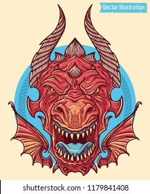 Big angry red dragon. Big swag boss. Head of dragon with open jaws. Image for print on clothing, t shirts, tees, stickers. Illustration for wrapping drift car hood. Isolated vector illustration