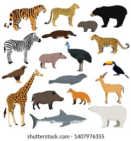 Big animal collection. Vector set of wild animals, birds, fish. Isolated on white background.
