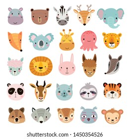 Big animal set. Cute faces. Hand drawn characters. Vector illustration.