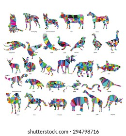Big animal set: jerboa, giraffe, snake, horse, goose, rhino, camel, kangaroo, tiger, rabbit, dog, cat, goose, cow, pig, moose, deer, snake,