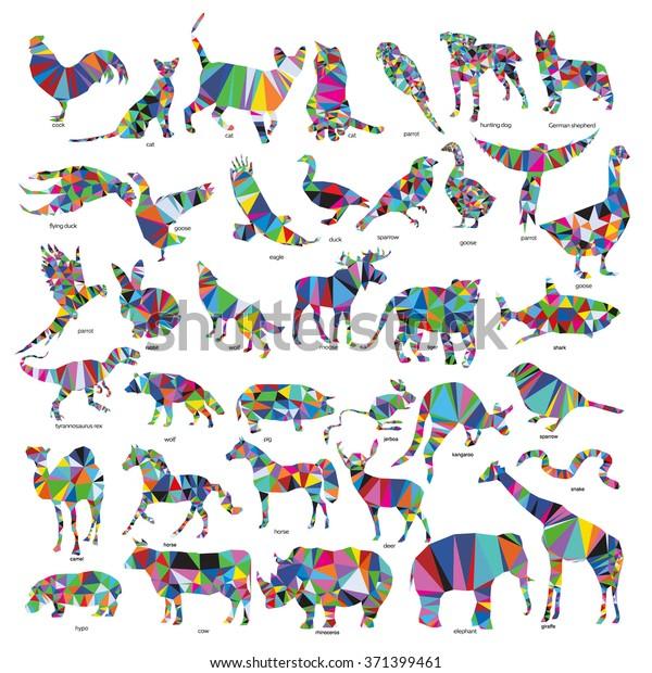 Big animal set: jerboa, giraffe, snake, horse, goose, rhino, camel, kangaroo, tiger, rabbit, dog, cat, goose, cow, pig, moose, deer, snake, cock, parrot