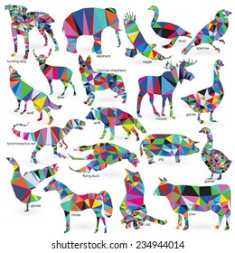 Big animals set triangle style. Cat, hunting dog, German shepherd, goose, moose, goose, sparrow, tyrannosaurus Rex, elephant, flying duck, pig, cow, wolf, eagle, horse, deer