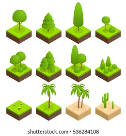 Big ans small trees, pine, shrubs, felled trees, cacti, palms to create a design landscape and parks. Flat 3d isometric illustration.