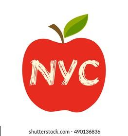Big apple, the New York City symbol. Vector illustration