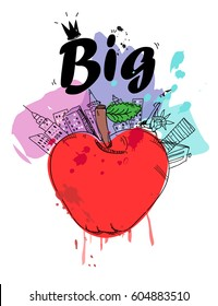 Big apple New York vector card