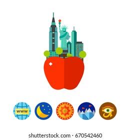 The big apple sign icon