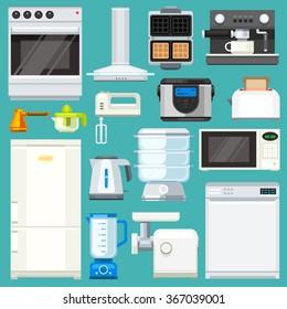 Big  appliance set! Isolated objects: : washing machine, coffee machine with mug, juicer, mixer, microwave oven, mincer, pot, fridge. Flat vector illustration set.