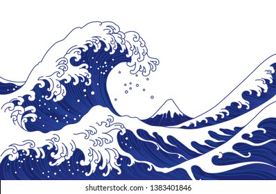 Big Asian ocean wave and the mountain illustration. Isolated on white background. Ocean of Kanagawa.