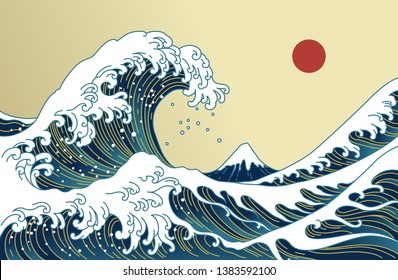 Big Asian ocean wave, red sun and the mountain illustration. Golden color tones. Ocean of Kanagawa. Japan wave vector.