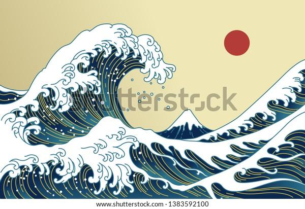 Big Asian ocean wave, red sun and the mountain illustration. Golden color tones. Ocean of Kanagawa. Japan wave vector.