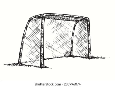 Big athletic foot ball goalpost on green grass court. Vector monochrome freehand linear ink drawn backdrop sketchy in art scribble antique style pen on paper with space for text on sky