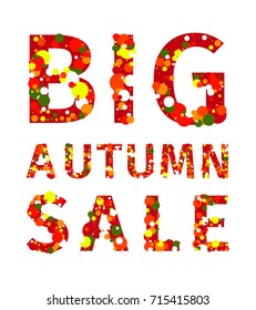 Big autumn sale. Multi-colored mottled big inscription made up of letters consisting of circles