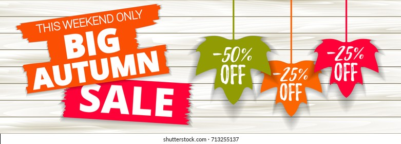 Big autumn sale offer, banner template. Colored maple leaf with lettering, isolated on wooden background. Fall leaf sale tags. Shop market poster design. Vector illustration. EPS 10