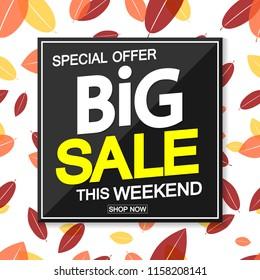 Big Autumn Sale, poster design template, special offer, vector illustration