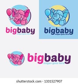 Big Baby Elephant Cartoon Logo