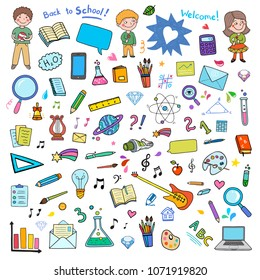 Big Back to School set of different vector objects. Everything from primary to university education. Kids, books, computer, arts and music, science, maths and chemistry.