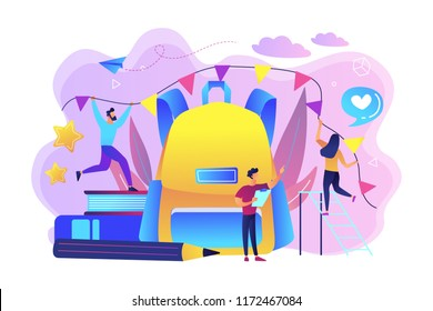 Big backpack, books, teacher and students decorating with colorful festive flags. Organize back to school party, new school year celebration concept, violet palette. Vector isolated illustration.