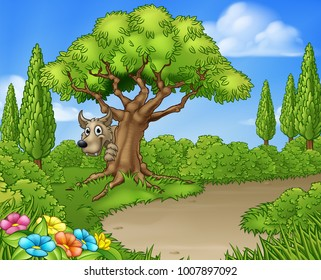 Big bad wolf from the three little pigs peeking from behind a tree
