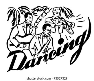 Big Band Dancing - Retro Clipart Illustration