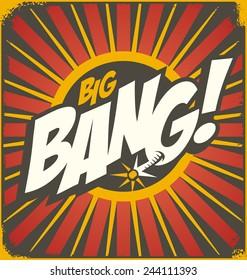 Big bang retro sign template. Vintage comics illustration concept. Bomb explosion cartoon background.