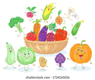 Big basket with funny vegetables. In cartoon style. Isolated on white background. Vector flat illustration.