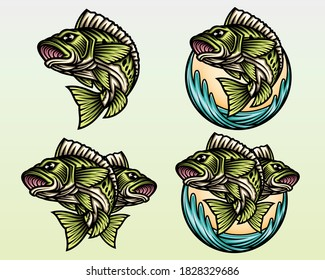 Big Bass Fish set vector illustration. Angry fish. Angry Big Bass