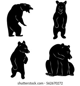 big bear, icon, style, Can be used for T-shirt printing, labels, badges, stickers, hunting, retro, with white lines,strength, power.