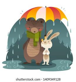 Big bear with rabbit standing under the umbrella. Vector illustration.