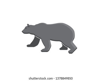 Big bear standing and looking at the side logo design illustration
