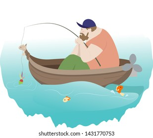 Big bearded fisherman fishing in a wooden boat and little bright fish swim around Vector illustration hobby concept art