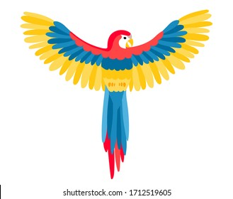 The big beautiful Aru parrot with spread wings in flat style. A bird flies spreading its wings or sits on a branch. Beautiful feathers are yellow, blue and red. Vector clip-art isolated on white