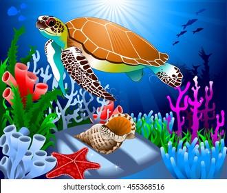 big beautiful sea turtle swimming in the sea, vector