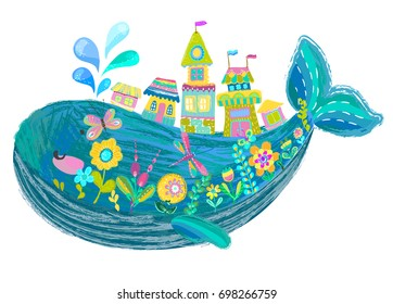 Big beautiful whale with houses and flowers over white, bright color illustration, cute cartoon, Vector