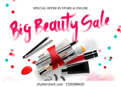 Big Beauty Sale, cosmetics banner for shopping season, makeup, accessories, equipment, beauty, facial, fashion. Vector illustration.