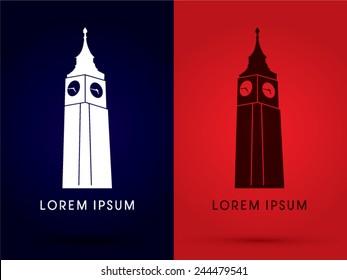Big Ben, clock tower, graphic, vector.