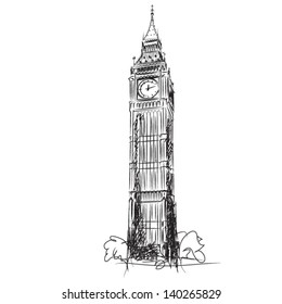 Big Ben - the Clock Tower of the Houses of Parliament, London - vector lineart illustration