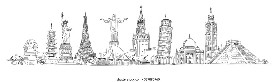 Big Ben, Coliseum, Cristo Redentor, Eiffel Tower, Great Wall, Leaning Tower of Pisa, Longhua Temple, Kremlin, Saint Basil's Cathedral, Sphinx, Statue of Liberty, Stonehenge, Taj Mahal, Triumphal arch